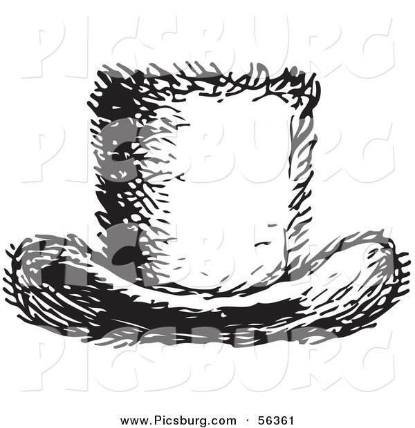 Clip Art of a Retro Vintage Furry Top Hat in Black and White