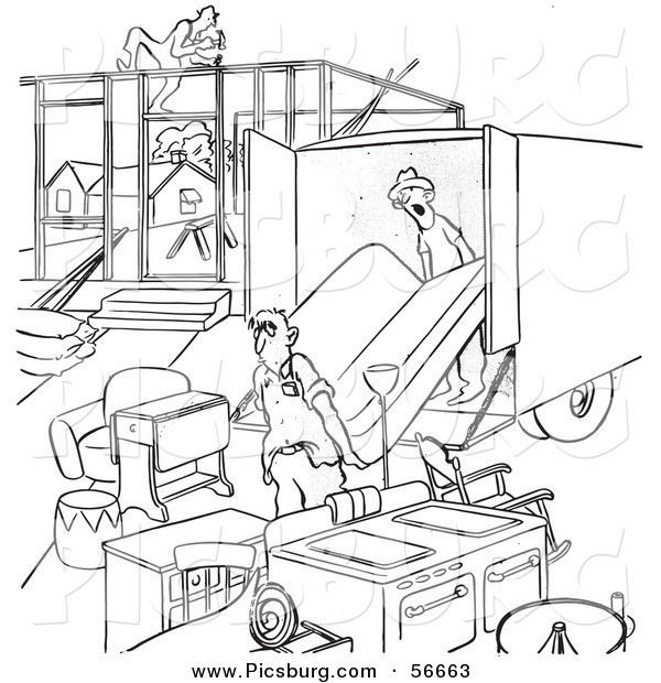 Clip Art of a Retro Vintage Man Moving into an Incomplete House Black and White Coloring Page Outline