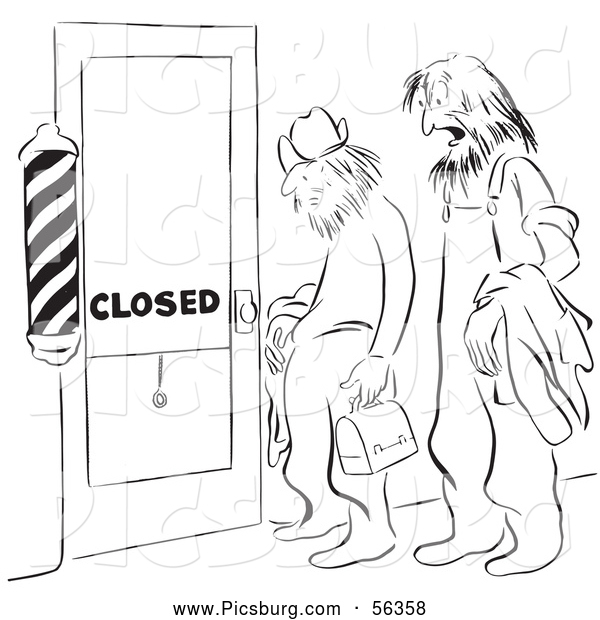Clip Art of a Retro Vintage Shaggy Men at a Closed Barber Shop Door Black and White Coloring Page Outline