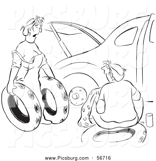 Clip Art of a Retro Vintage Woman Offering Ruined Spare Tires for Her Husband Car Black and White Coloring Page