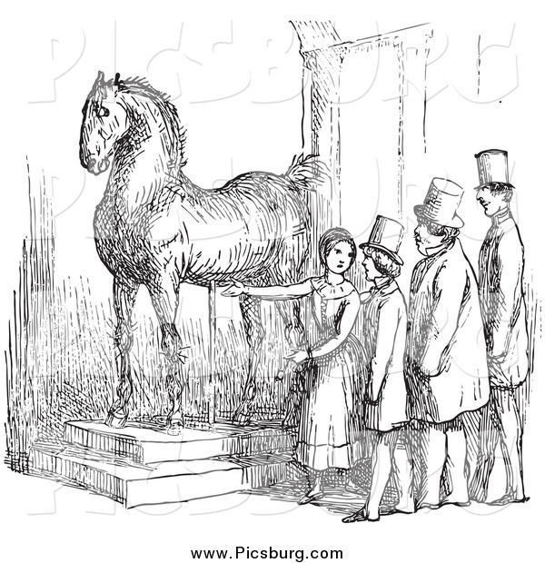 Clip Art of a Retro Woman Presenting Wallensteins Horse in Black and White