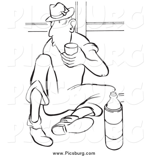 Clip Art of a Retro Worker Man Drinking Water on His Break Black and White