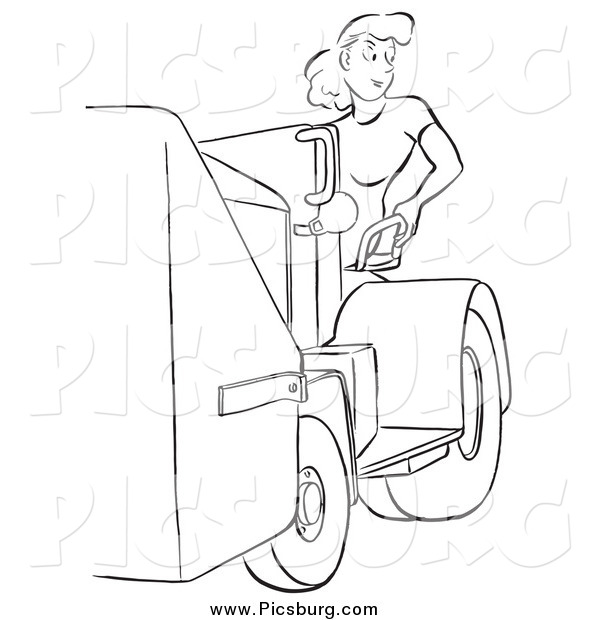 Clip Art of a Retro Worker Woman and a Machine in Black and White