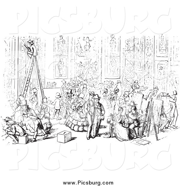 Clip Art of a Scene at Academia Hall in Black and White