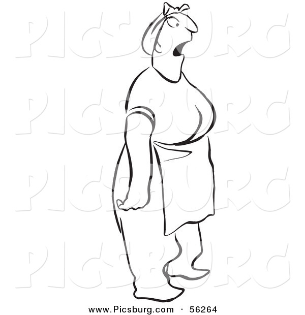 Clip Art of a Shocked Woman Stopped in Her Tracks - Black and White Line Art