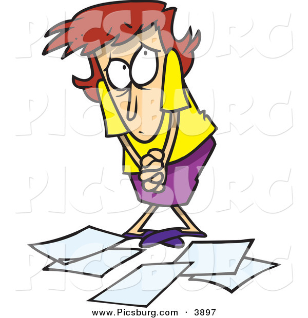 Clip Art of a Shy White Woman Worker Being Scolded for Dropping Papers