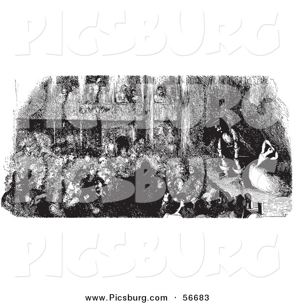 Clip Art of a Sketch of a Retro Vintage Crowd Watching a Pirate Play in Black and White