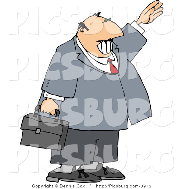 Clip Art of a Smiling Balding Businessman Waving Hello or Goodbye