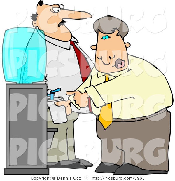 Clip Art of a Stern Boss Man Keeping a Close Eye on an Employee Filling His Cup with Water