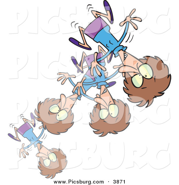 Clip Art of a Stressed or Excited Brunette Woman Bouncing Around