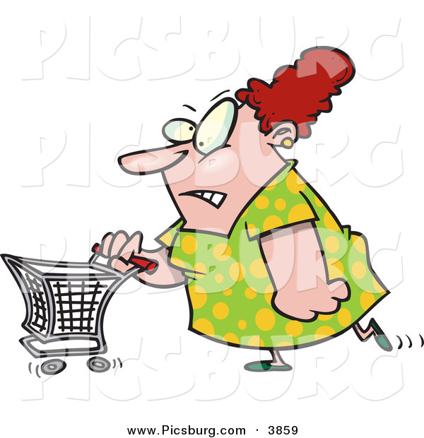 Clip Art of a Stressed out Obese Caucasian Woman Pushing a Shopping Cart in a Store