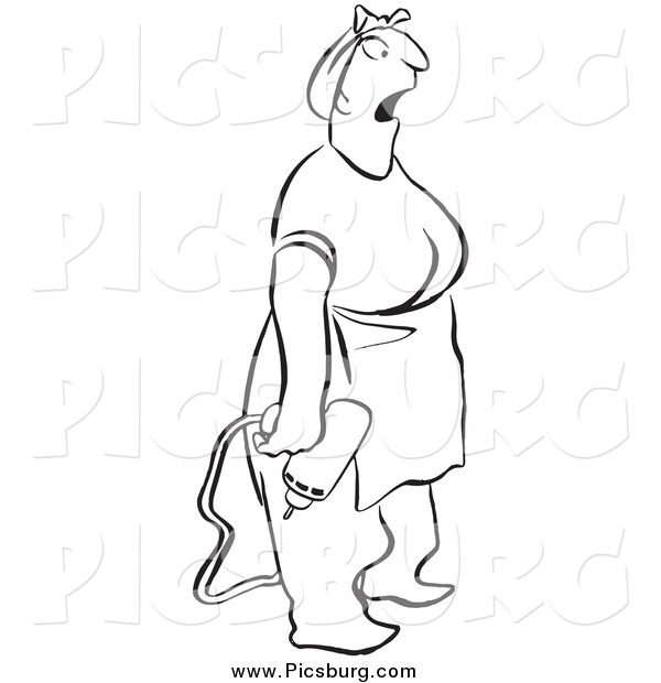 Clip Art of a Surprised Woman Holding a Power Drill, Black and White