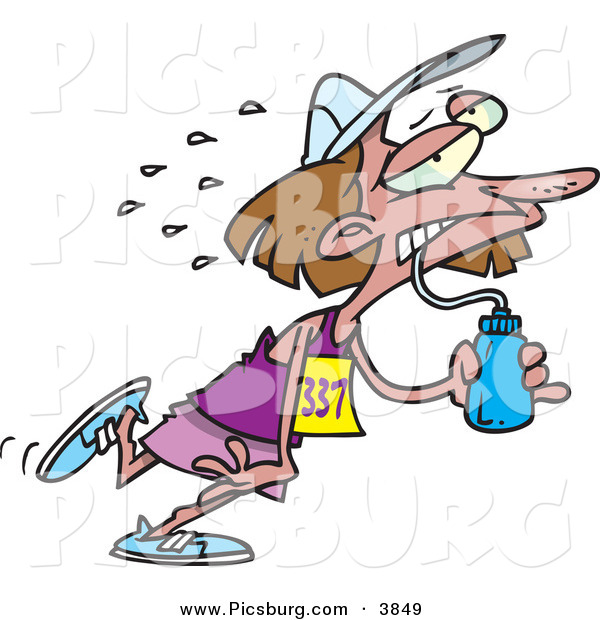 Clip Art of a Sweating and Exhausted Marathon Runner Woman Drinking Water from a Bottle