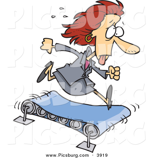 Clip Art of a Sweating Hot Business Woman Running to the Right on a TreadmillSweating Hot Business Woman Running to the Right on a Treadmill