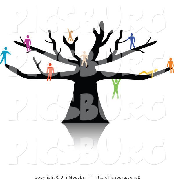 Clip Art of a Tree with Colorful People