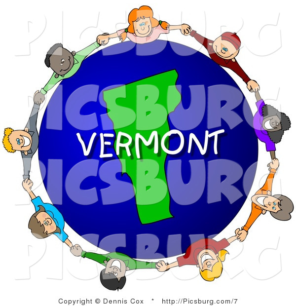 Clip Art of a Vermont Globe with People Holding Hands