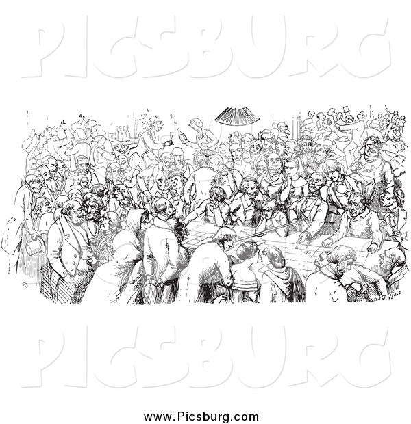 Clip Art of a Vintage Black and White Crowded Pub