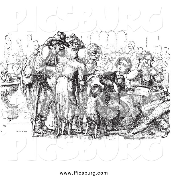 Clip Art of a Vintage Crowd of Beggars and Foreigner in Black and White