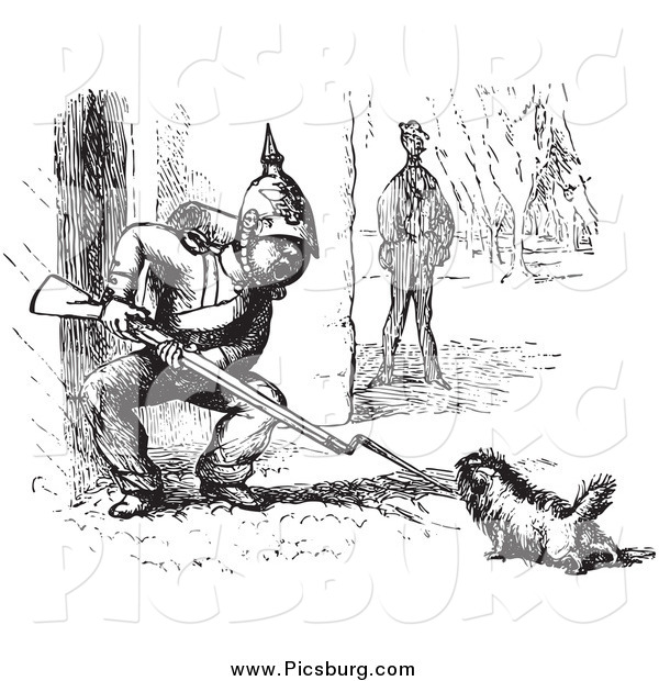 Clip Art of a Vintage Dog Challenging a Soldier in Black and White