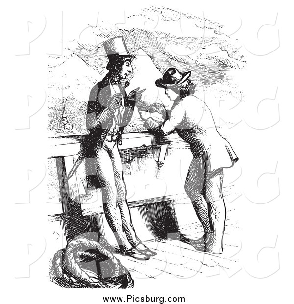 Clip Art of a Vintage Man Being Interviewed on a Boat, in Black and White