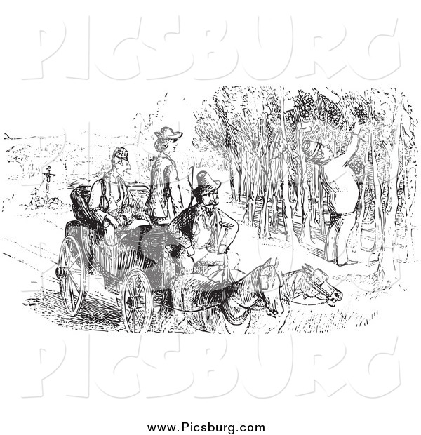 Clip Art of a Vintage Man Picking Grapes and Others Watching, in Black and White