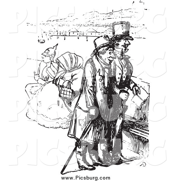 Clip Art of a Vintage Men on a Boat in Black and White