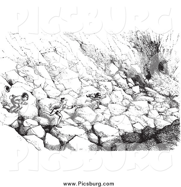 Clip Art of a Vintage Men Running over Boulders to Catch a Ride in Black and White