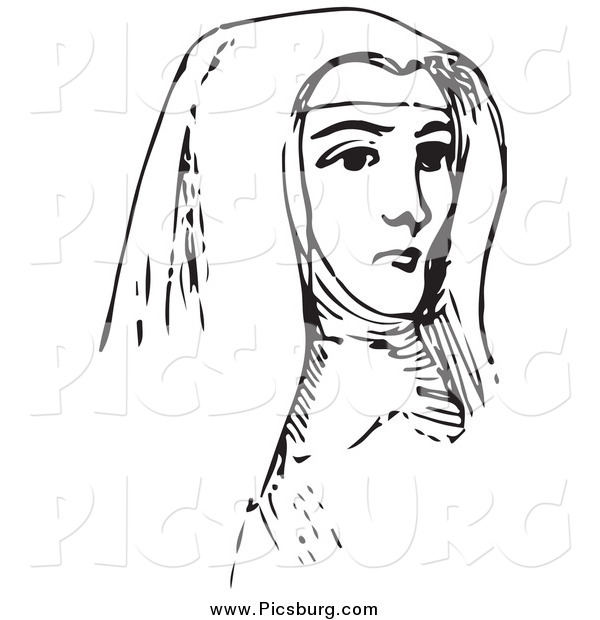Clip Art of a Vintage Nun in Black and White