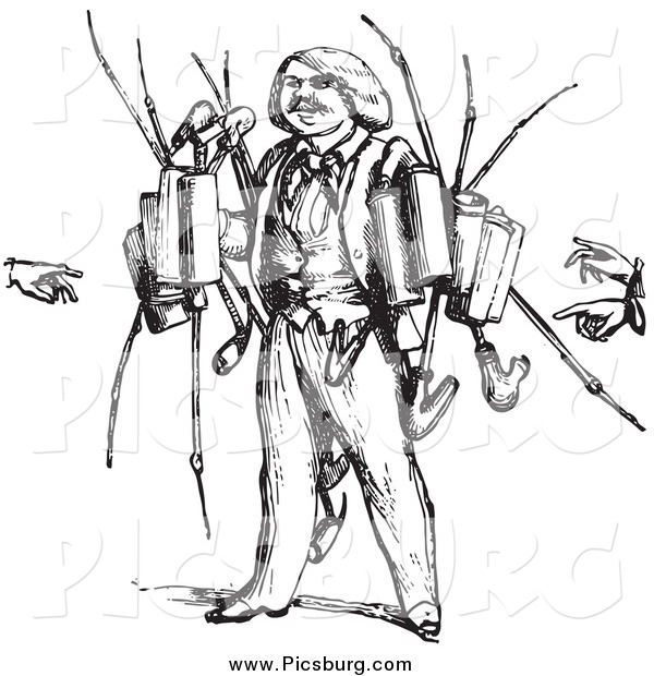 Clip Art of a Vintage Pipe Vendor in Black and White