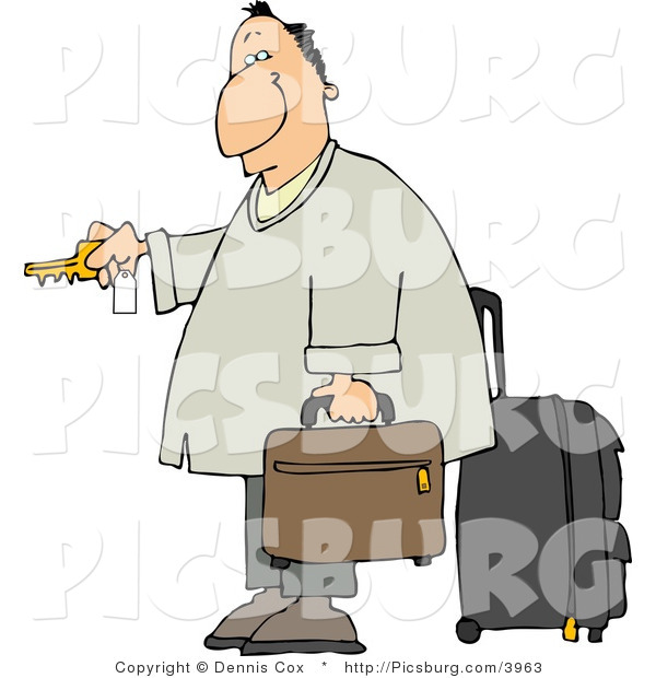Clip Art of a Weary Caucasian Traveler Businessman Checking into a Hotel