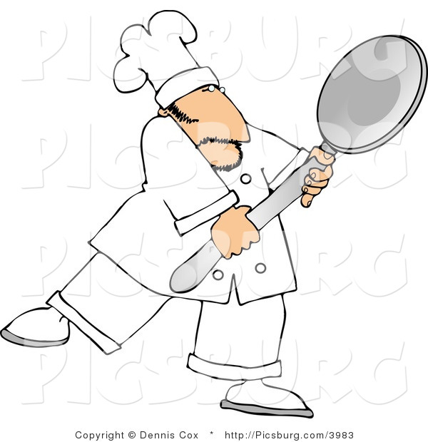 Clip Art of a White Male Cook Carrying a Big Spoon