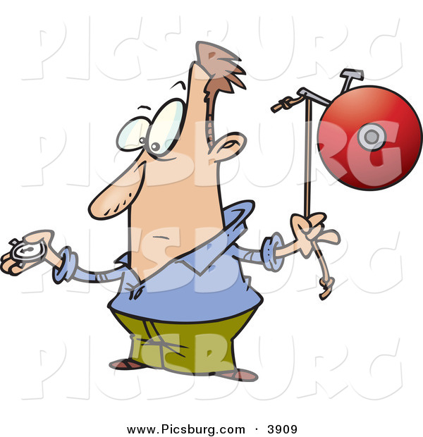 Clip Art of a White Man with a Watch, Preparing to Ring a Bell on Time
