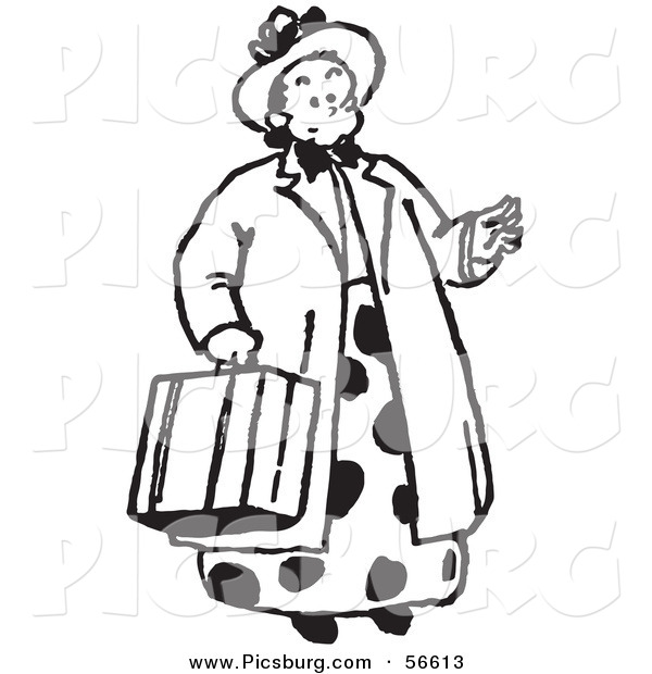 Clip Art of a Women Carrying a Suitcase - Black and White Line Art