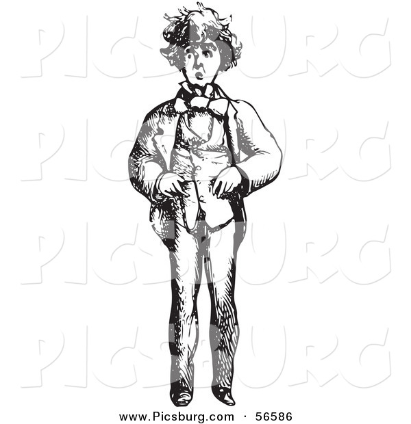 Clip Art of a Worried Man - Black and White