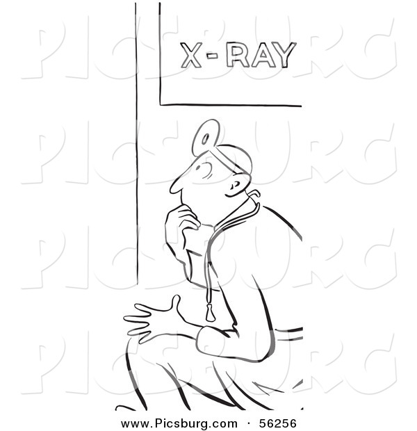 X Ray Line Drawing : Clip art of a ray doctor black and white line by