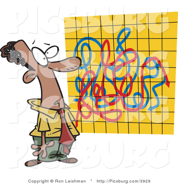 Clip Art of an African American Man Looking at a Crazy Colorful Graph Chart