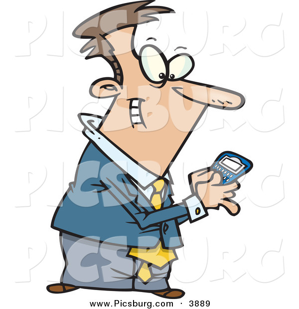 Clip Art of an Excited Man Using a BlackBerry Wireless Handheld Device to Send Text Messages