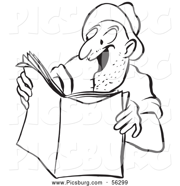 Clip Art of an Excited Worker Man Reading a Story Black and White