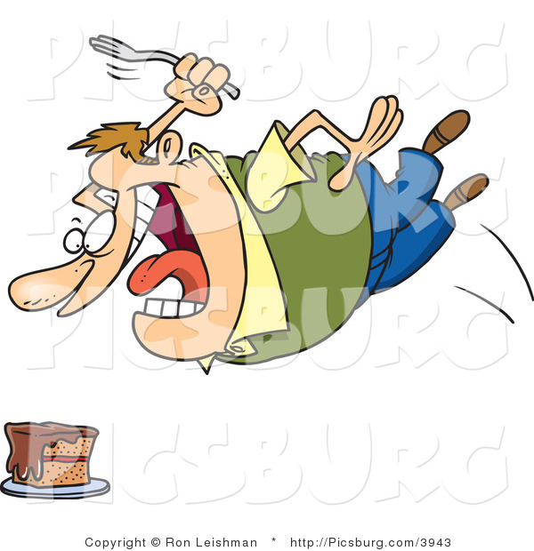 Clip Art of an Obese and Hungry Caucasian Man Diving Towards a Cake with a Fork