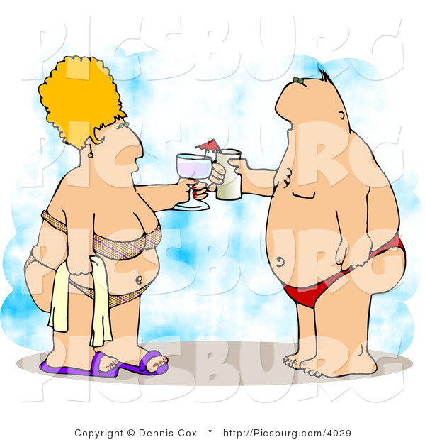 Clip Art of an Obese Husband and Wife Vacationing at the Beach and Clinking Glasses Together