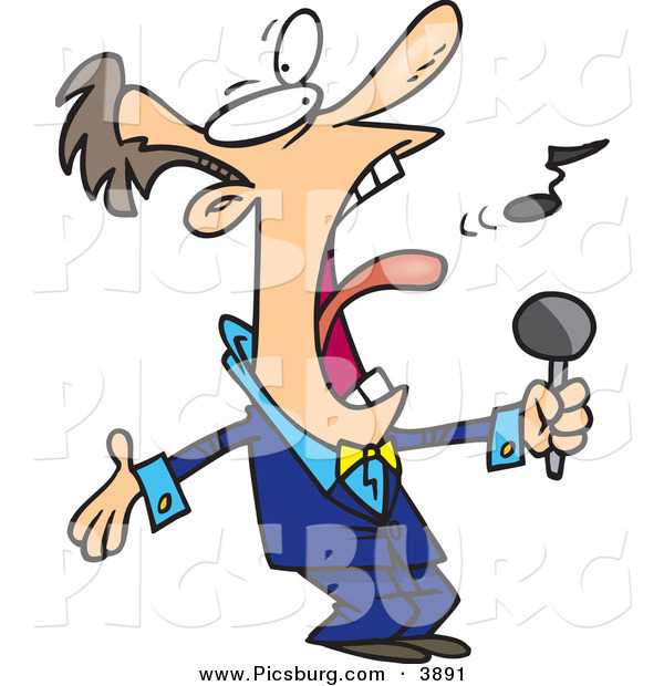 Clip Art of an Obnoxious Loud Man in a Blue Suit, Singing the Anthem