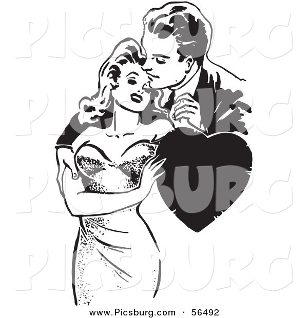 Clip Art of an Old Fashioned Man and Woman Romantically Embracing with a Love Heart - Black and White