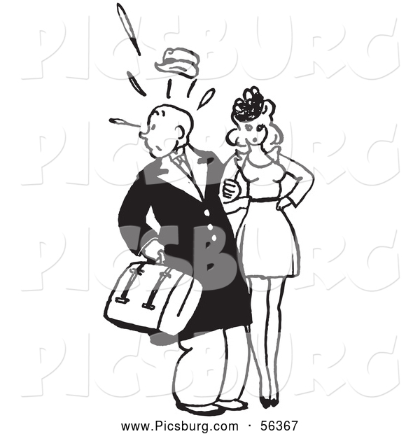 Clip Art of an Old Fashioned Retro Vintage Surprised Man Looking Back with a Woman in Black and White