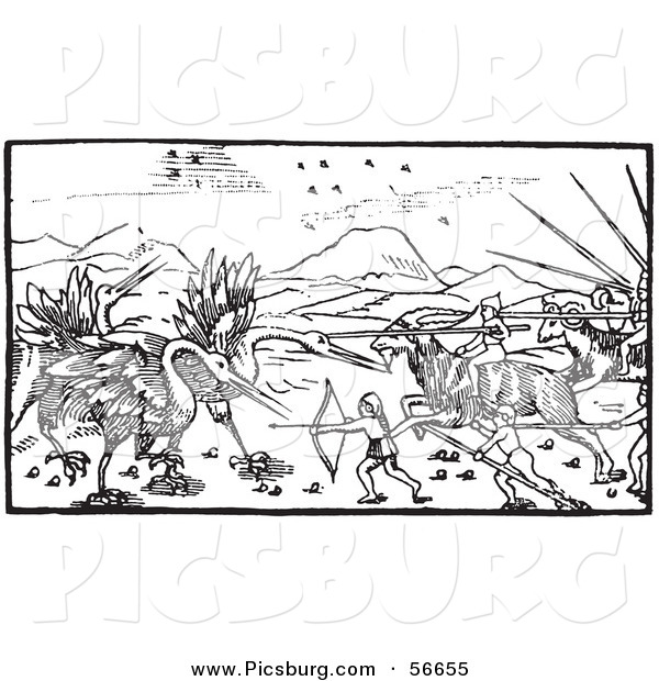 Clip Art of an Old Fashioned Vintage Battle Between Cranes and Pygmies Black and White 1