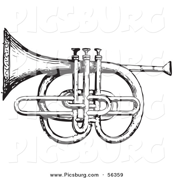 Clip Art of an Old Fashioned Vintage Cornet and Pistons in Black and White
