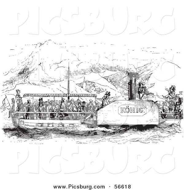 Clip Art of an Old Fashioned Vintage Crowded Rhine Boat in Black and White