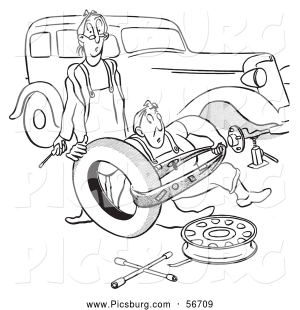 Clip Art of an Old Fashioned Vintage Man and Woman Struggling with Changing a Car Tire Black and White
