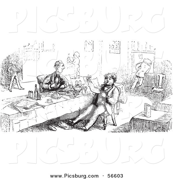 Clip Art of an Old Fashioned Vintage Men Eating and Reading in Black and White
