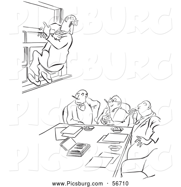 Clip Art of an Old Fashioned Vintage Office Worker Man Leaping out a Window at a Meeting Black and White