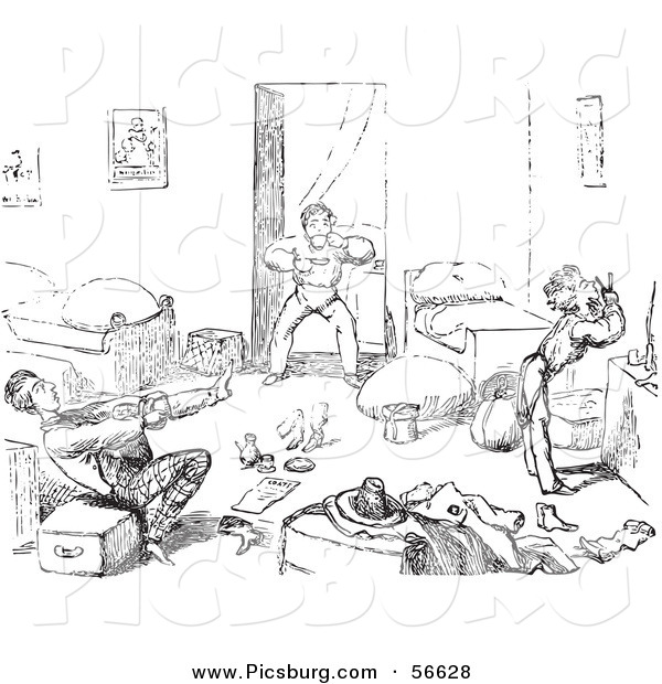 Clip Art of an Old Fashioned Vintage Rushed Travelers Waking up in Black and White